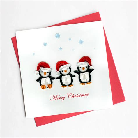 Trade In Gift Cards For Other Gift Cards - penguin christmas hd611 quilling card