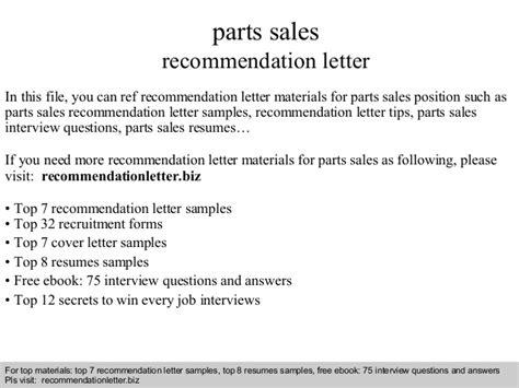 Recommendation Letter For Sle Pdf Parts Sales Recommendation Letter