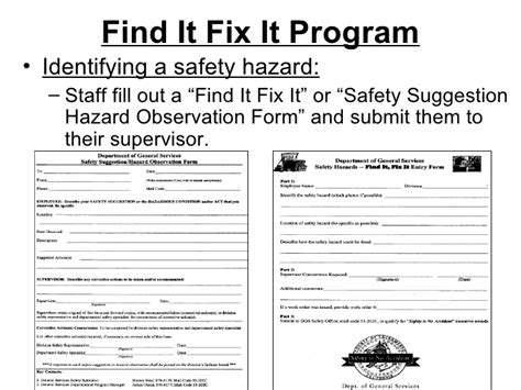 safety suggestion card template safety hazard identification and recognition program