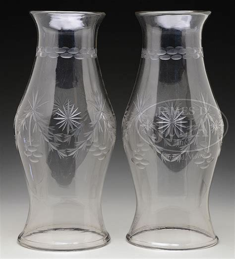 Large Glass L Shades Uk by Outstanding Pair Of Large Cut Clear Glass Hurricane