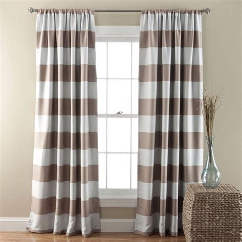 beige striped curtains new set 2 window curtains panels drapes 84 in blackout