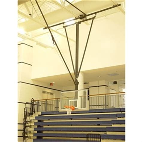 ceiling mounted basketball hoops gared forward fold front braced ceiling suspended