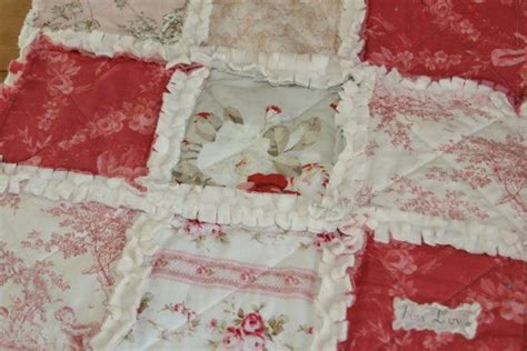 baby girl gift shabby chic lovey rag quilt security
