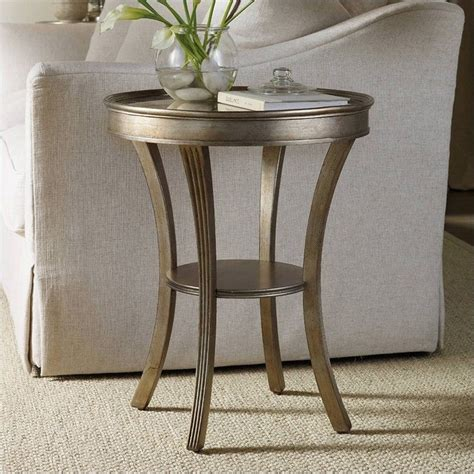 round mirrored accent table hooker furniture sanctuary round mirrored accent table in