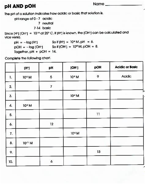 Ph And Poh Worksheet Answer Key pin ph and poh worksheet excel on