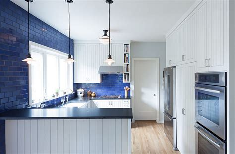 Kitchen Island Used blue and white interiors living rooms kitchens bedrooms