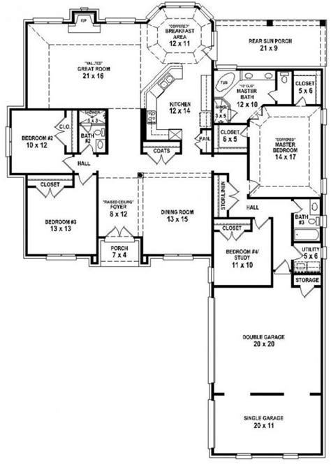 3 4 bath floor plans 4 bedroom 3 bath house plans 1 story bed ranch 102