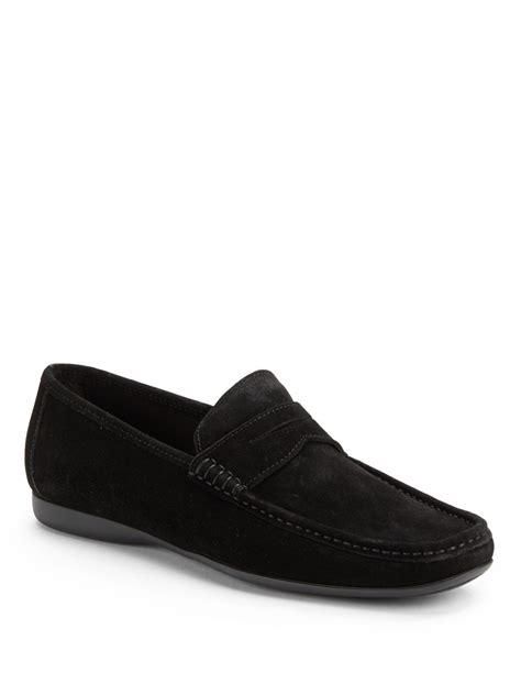 bruno magli suede loafers bruno magli partie suede loafers in black for lyst