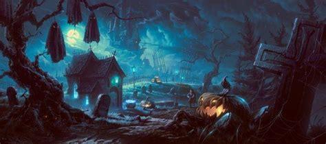 artwork fantasy art halloween pumpkin forest