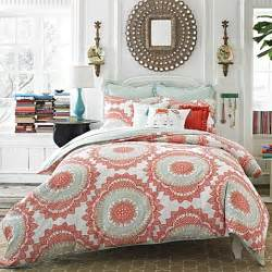 buy anthology bungalow 3 piece reversible full queen comforter set in coral from bed bath beyond