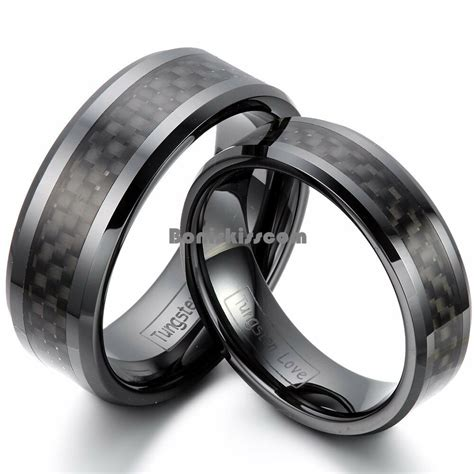 carbon fiber ceramic wedding band black ceramic ring black carbon fiber inlay couples