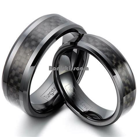 Black Ceramic Ring Black Carbon Fiber Inlay Couples