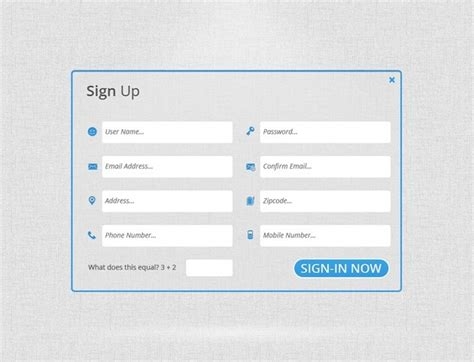 sign up form template form templates