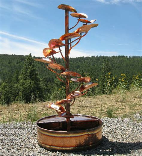 handcrafted copper tree of life fountain outdoor living