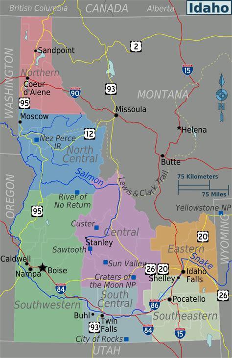 idaho map usa map of idaho touristic map worldofmaps net