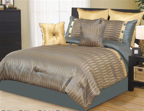 Luxury Bed In A Bag Comforter Sets 12pc Pandora Gold Blue Luxury Bed In A Bag Luxury Bed In A Bag Sets With Sheets Bedding Sets