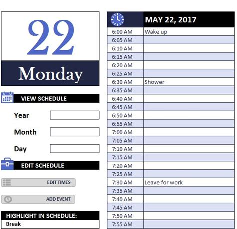 daily work schedule myexceltemplates schedule template