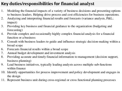 Analyst Duties by Financial Analyst Description