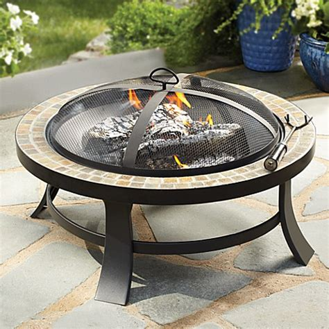 30 Quot Slate Firepit With Pvc Cover Bed Bath Beyond Slate Firepit