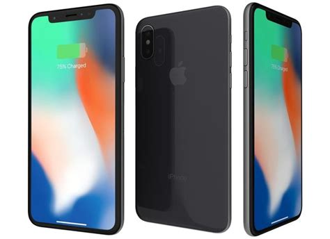 3d model apple iphone x space gray cgtrader