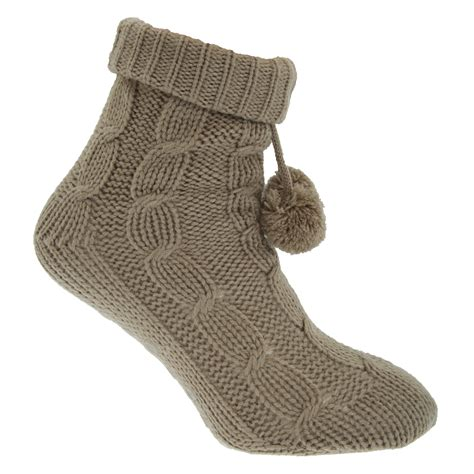 cable knit slipper socks womens plain cable knit thermal winter slipper