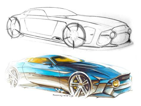 Sketchover #8 ? Car rendering with markers and pencils