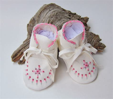 pink beaded baby moccasins infant booties white