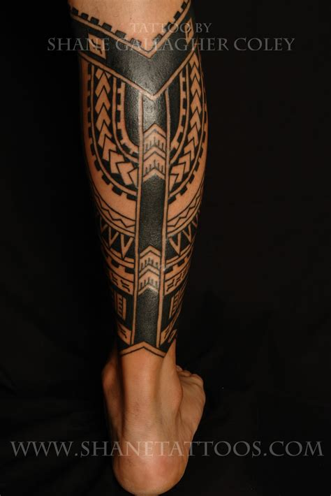 tribal calf tattoo designs shane tattoos polynesian calf