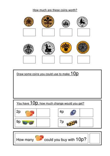money worksheets ks1 coin recognition change and problem