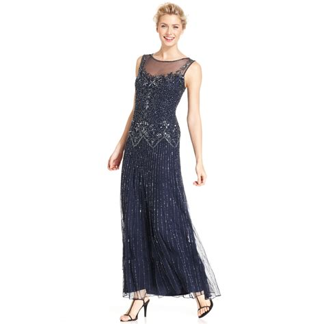 beaded gown pisarro nights sleeveless illusion beaded gown in blue
