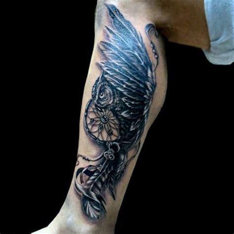 flying owl tattoo on leg 100 dreamcatcher tattoos for men divine design ideas
