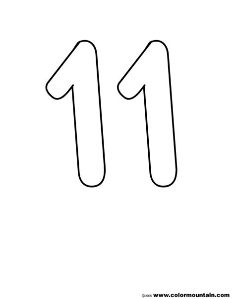 coloring page of number 11 number eleven color page create a printout or activity