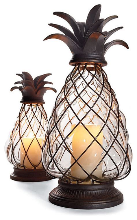 Pineapple Outdoor Lights Pineapple Hurricane Large Traditional Candleholders By Frontgate
