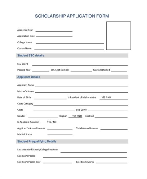 Sle Application Forms 20 Free Documents In Word Pdf Scholarship Application Template Pdf