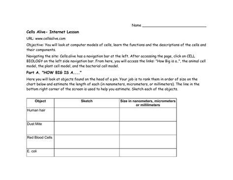Is It Alive Worksheet by Uncategorized Cells Alive Worksheet Answers Klimttreeoflife Resume Site