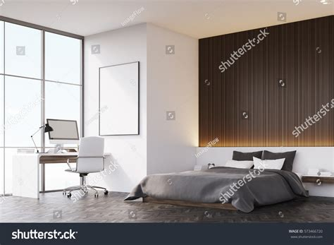 bedroom side view side view bedroom wooden wall there stock illustration