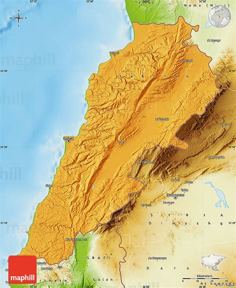 physical map of lebanon political map of lebanon physical outside