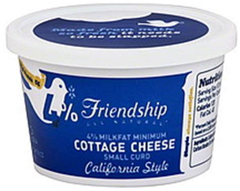 4 cottage cheese nutrition friendship cottage cheese small curd 4 milkfat minimum