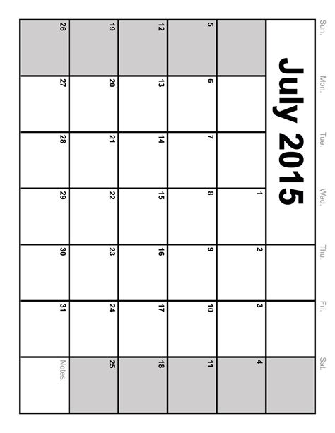 Blank 2015 Calendar Templates by July 2015 Calendar Printable Template Big Size 6 Templates