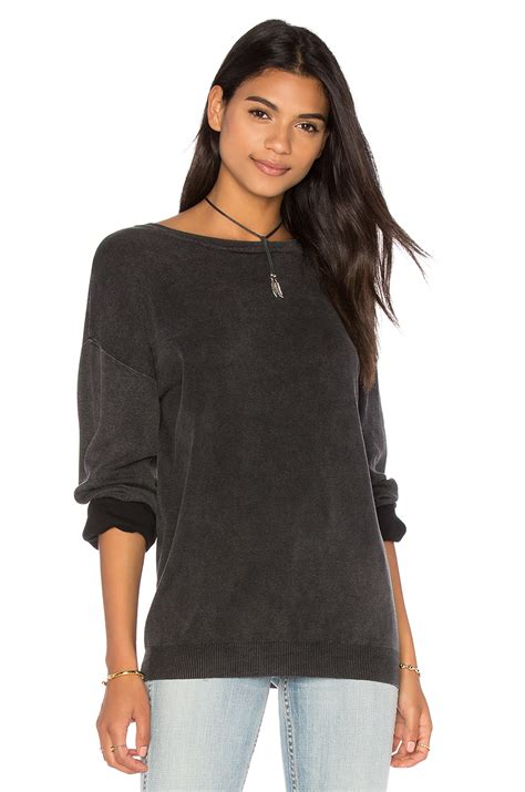Black V Back Sweater S741 callahan v back sweater in black enyzyme black lyst