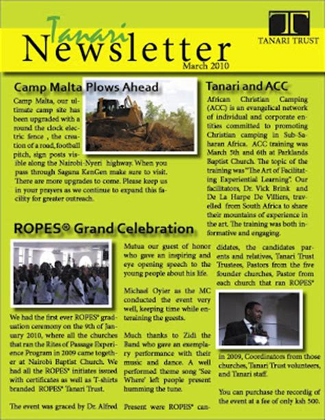 one page newsletter template bwana asifiwe tanari newsletter