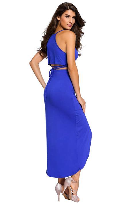 Maxi Set Vinoti Blue stylish royal blue cotton two maxi skirt set