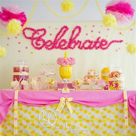 Pink And Yellow Birthday Decorations by Pink Yellow Dessert Table By Sweet Indulgence Giggle