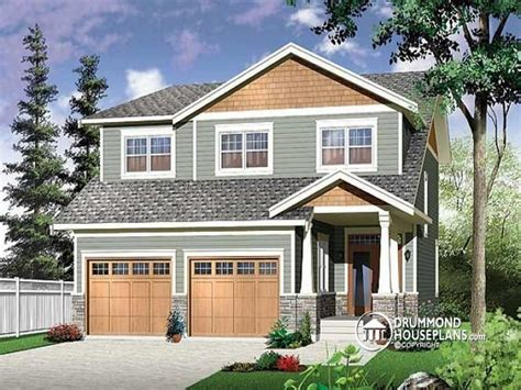 Two Story Bungalow House Plans by Narrow Two Story Craftsman House Plans With Garage Two
