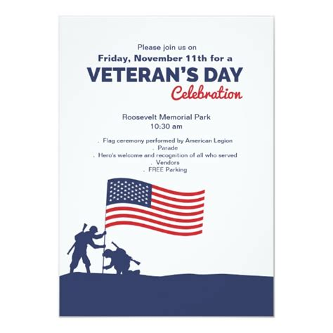 Celebrate Veteran S Day Invitation Zazzle Veterans Day Program Template