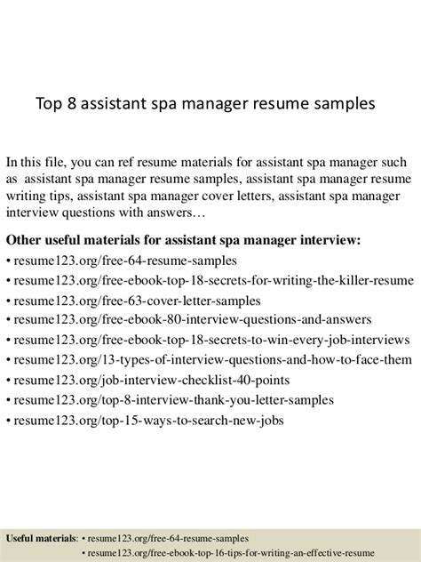 top 8 assistant spa manager resume sles