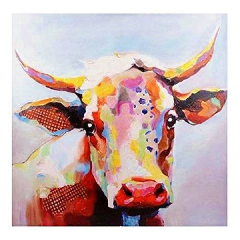colorful cow painting large 50 x 50 opulant color betsy cow