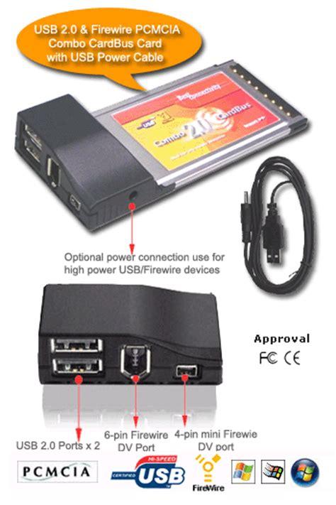 Pcmcia Usb 2 0 4port 4 port pcmcia usb 2 0 firewire combo card for laptop pc