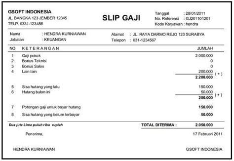 contoh slip gaji bagi in