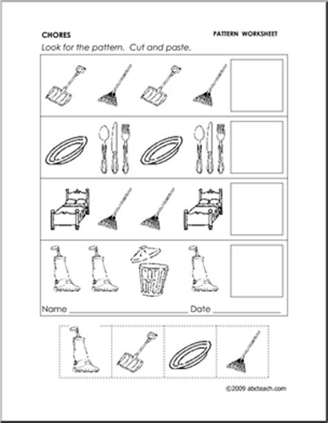 pattern worksheet cut and paste 18 best images of kindergarten pattern worksheets cut and